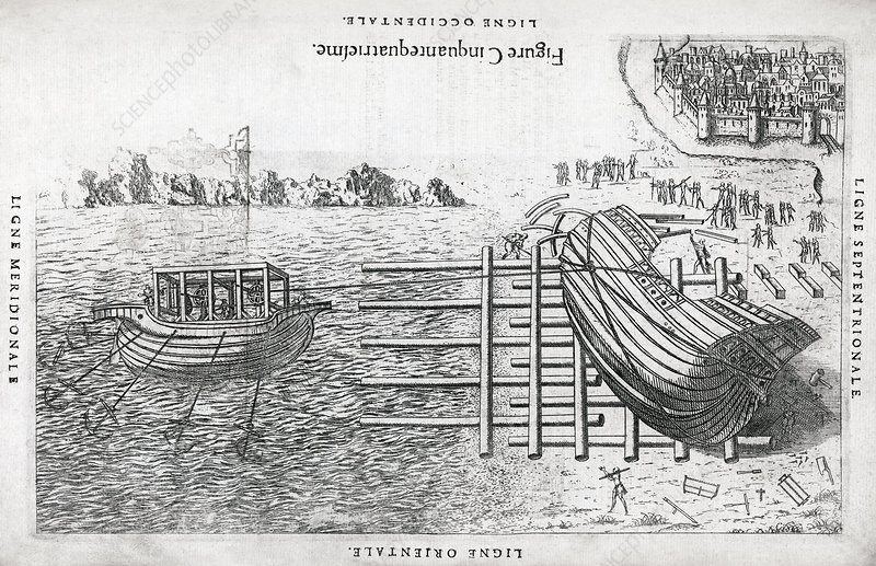 Ship launch system, 16th century artwork