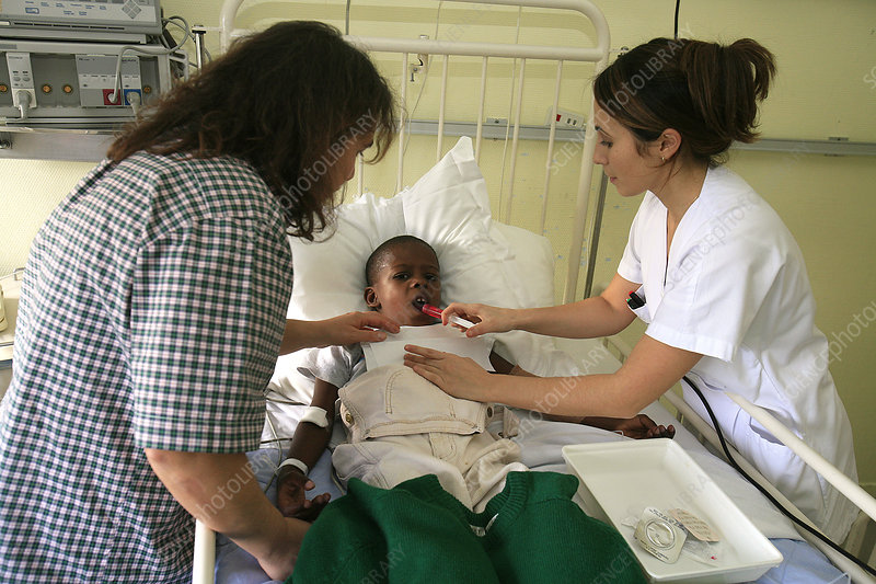 Child hospital patient with nurse