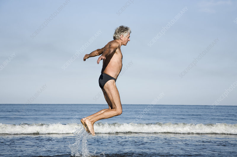 Elderly person. practising a sport