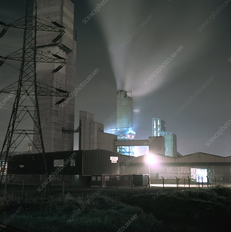 Chemical catalyst factory at night