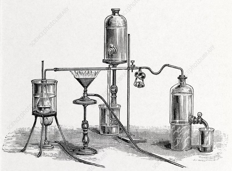 Chloroform analysis, 19th century artwork