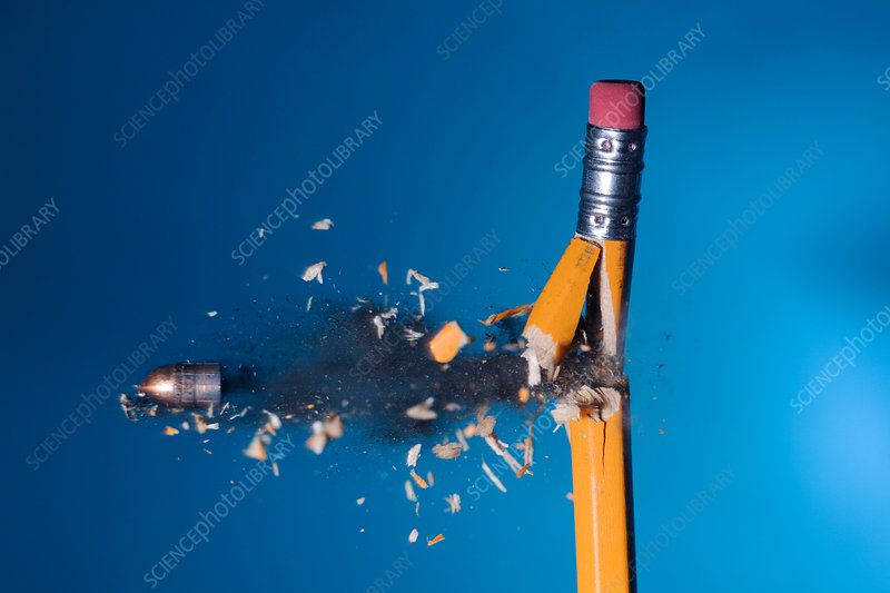 Bullet Hitting a Pencil