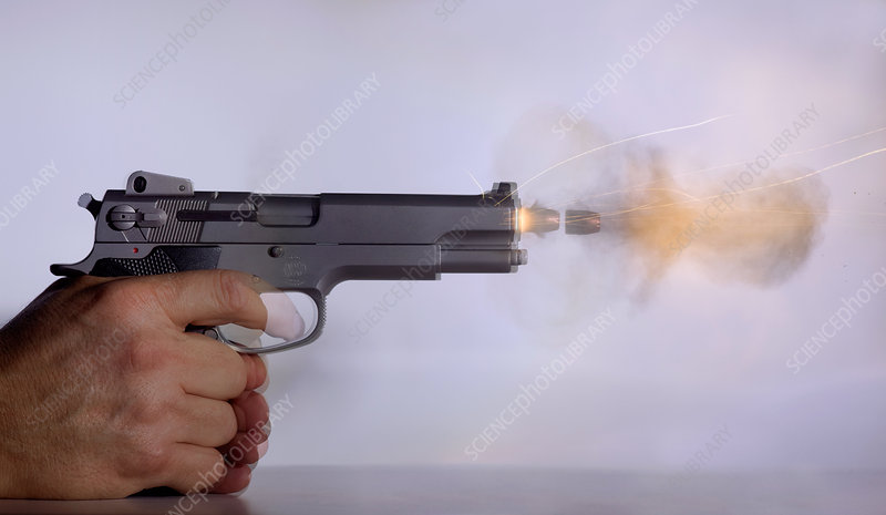 Handgun and .45 Caliber Bullet Double Exp