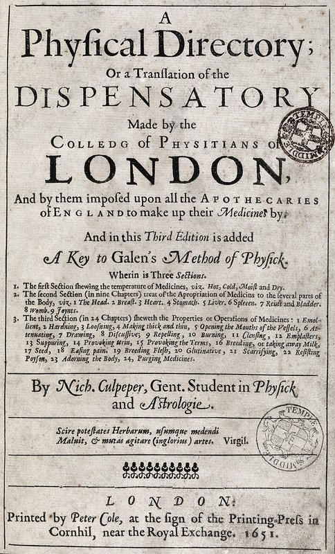 A Physical Directory title page, 1651