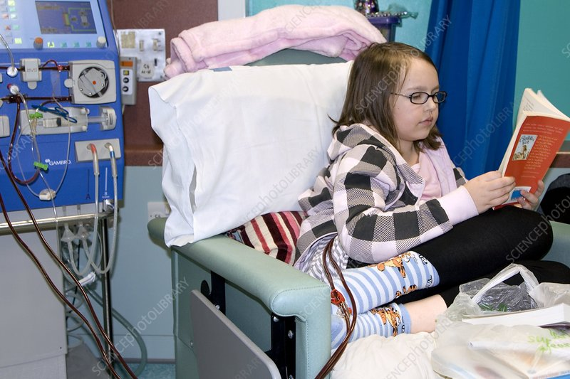 Girl undergoing kidney dialysis
