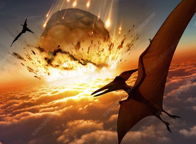 Flying reptiles and asteroid, artwork