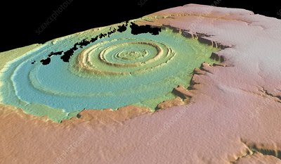 Richat structure, 3-D satellite image