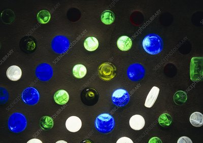 Bottle wall of an Earthship home, USA