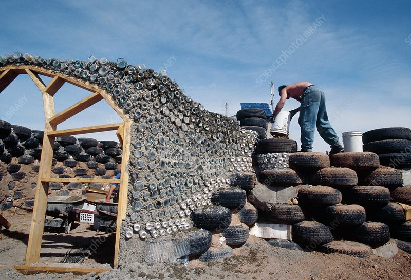 Earthship home construction, USA