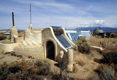 Earthship home, New Mexico, USA