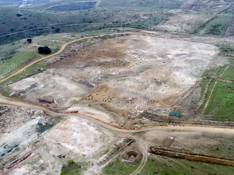 Neolithic flint mine, aerial photograph