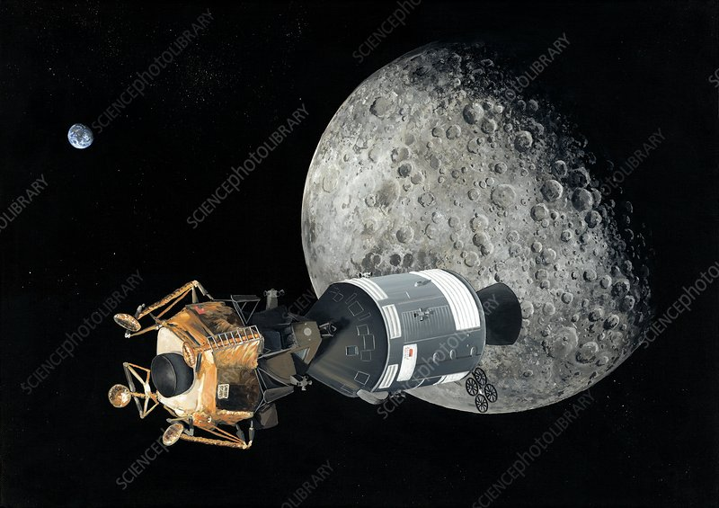 Apollo spacecraft at the Moon, artwork