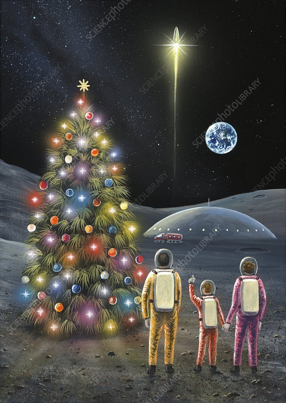 Christmas on the Moon, space art
