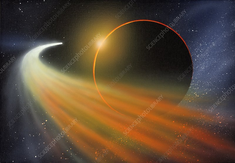 Comet passing a planet, artwork