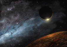 Eclipse over an alien planet, artwork
