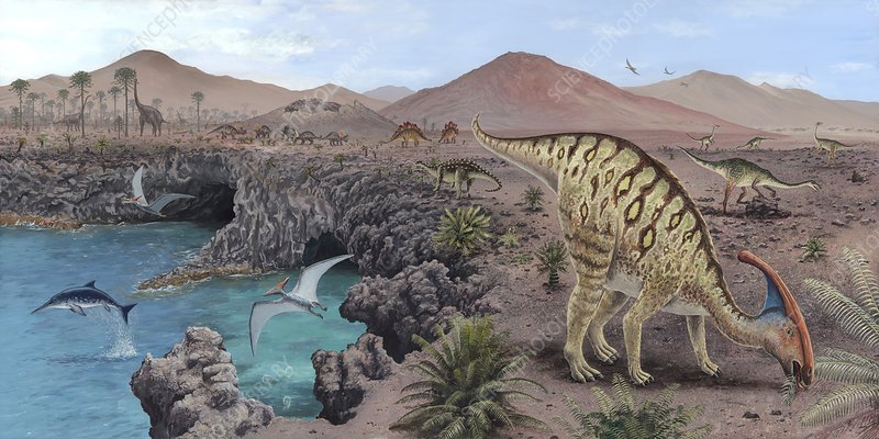 Mesozoic reptiles, artwork