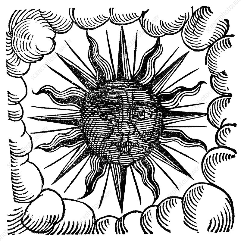 Sun and clouds, historical artwork