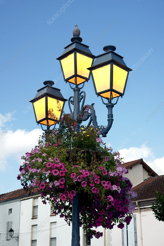 Lampost in a French market town