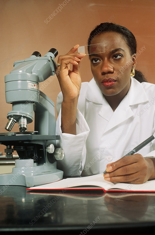 Lab Technician Examining Slide