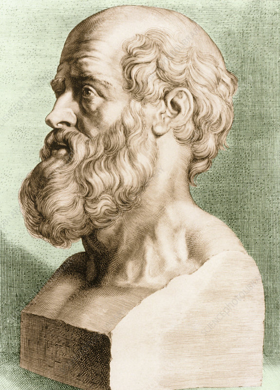 Engraving of bust of Hippocrates