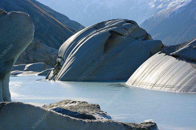 Glacier-polished rocks