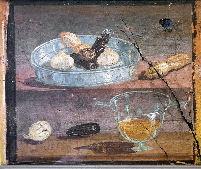 Food and glass dishes, Roman fresco