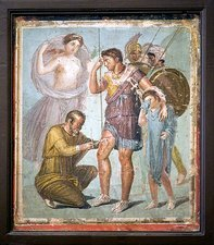 Battle wounds of Aeneas, Roman fresco