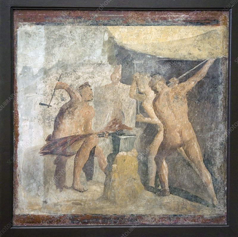 Forge of Hephaistos, Roman fresco