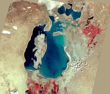 Aral Sea, satellite image, 1999