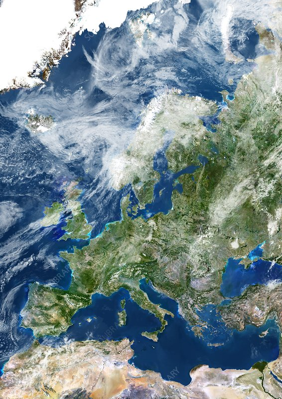 Europe with clouds, satellite image