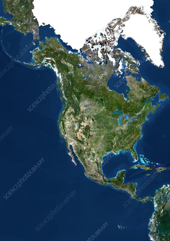 North America, satellite image