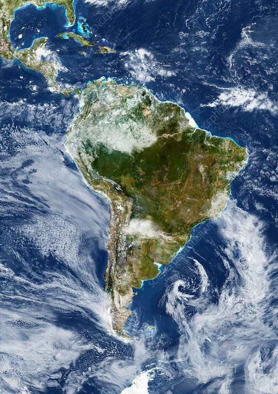 South America with cloud, satellite image