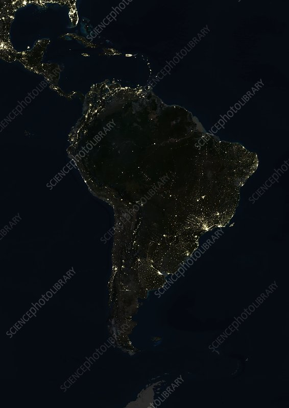 South America at night, satellite image - Stock Image - C003 ... on current map of south america, large map of south america, statistics of south america, full map of south america, labeled map of south america, north america, physical features of south america, satellite maps of homes, google earth south america, satellite maps of usa, map of africa and south america, physical map of south america, precipitation of south america, blank outline map of south america, topographic map of south america, hd map of south america, complete map of south america, thematic map of south america, a blank map of south america, google maps south america,