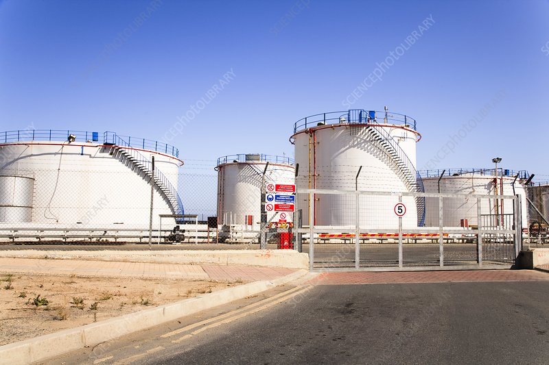 Oil storage tanks in the Mediterranean