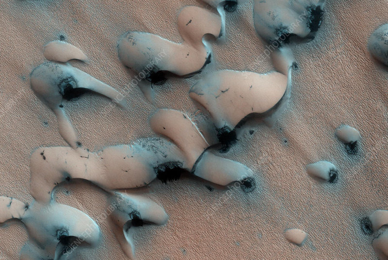 Sand dune thawing on Mars