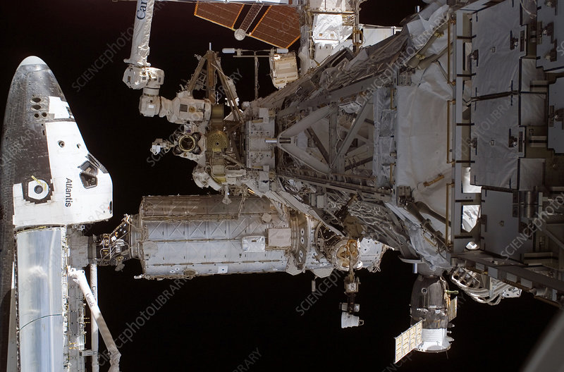 Shuttle astronauts at work