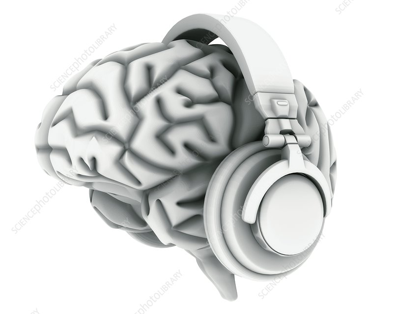 Brain with headphones, artwork