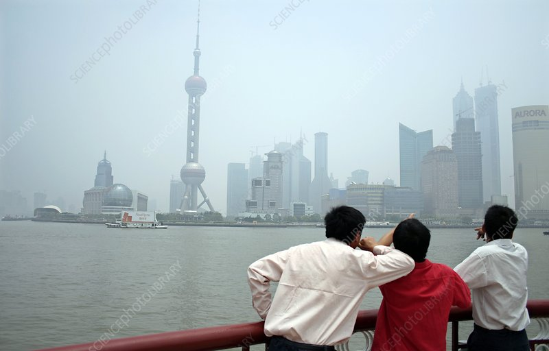 Tourists viewing the Shanghai skyline