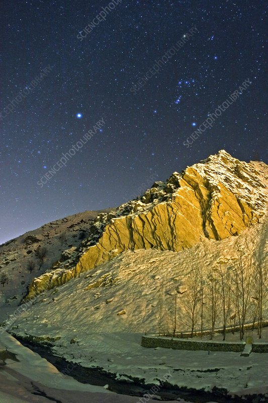 Winter Night and Alborz Mountains