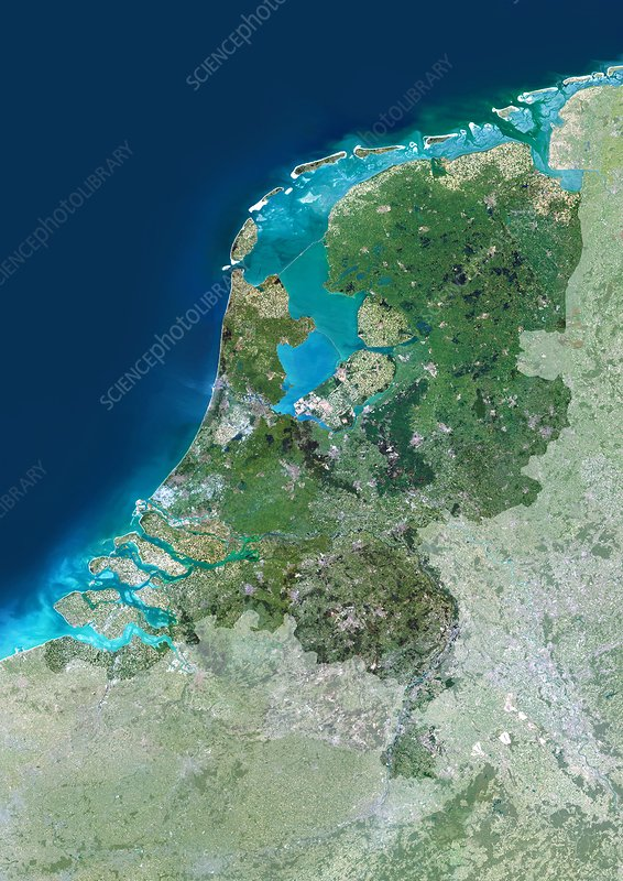 The Netherlands, satellite image