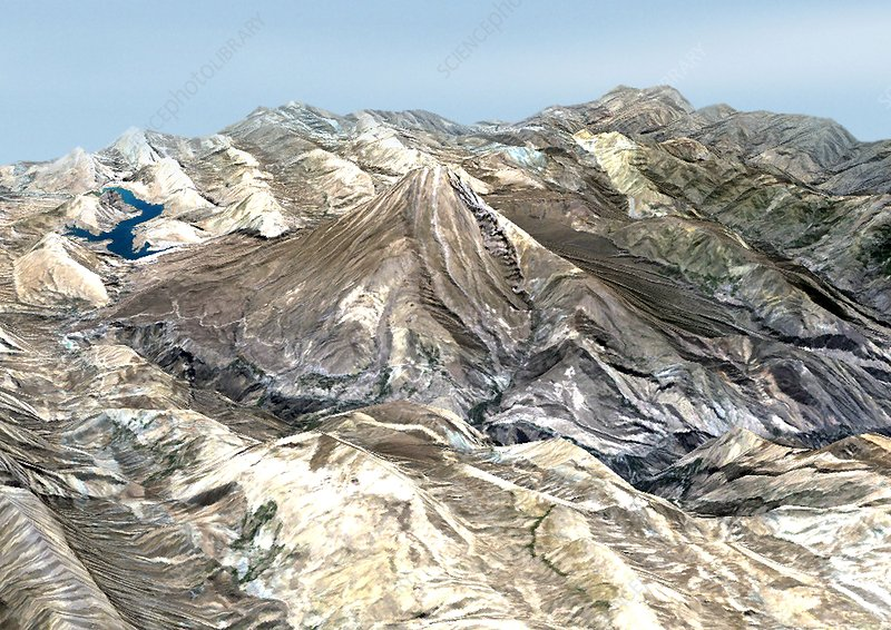 Mount Damavand, 3D satellite image