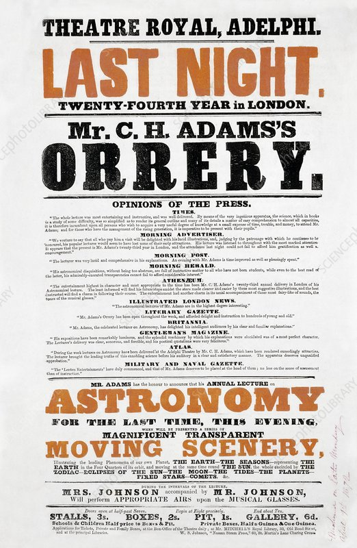 Astronomy lecture poster, 1872