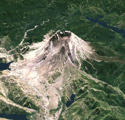 Mount St Helens, 3D satellite image