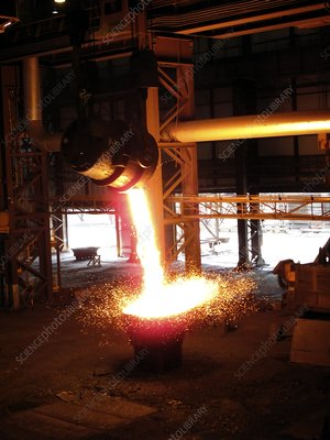 Molten steel slag being poured