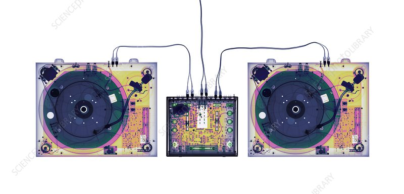 DJ equipment, coloured X-ray