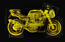 Motorbike, coloured X-ray