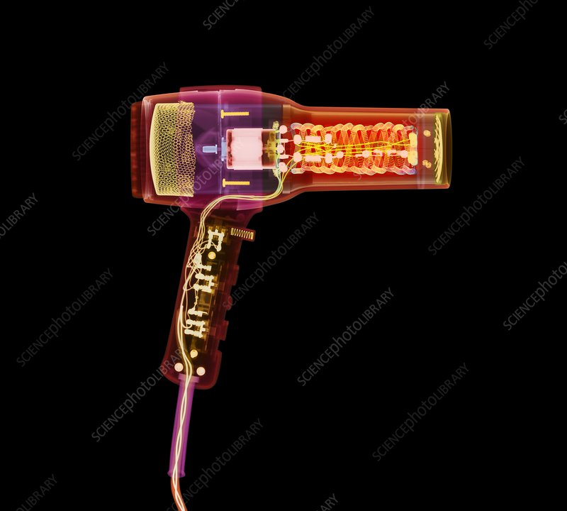 Hairdryer, coloured X-ray