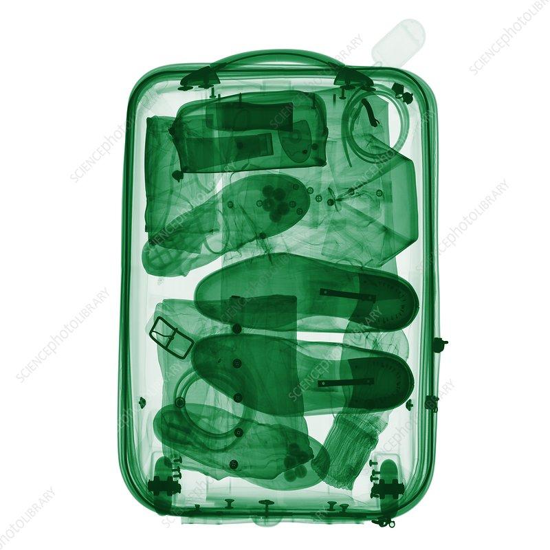 Wheeled suitcase, coloured X-ray