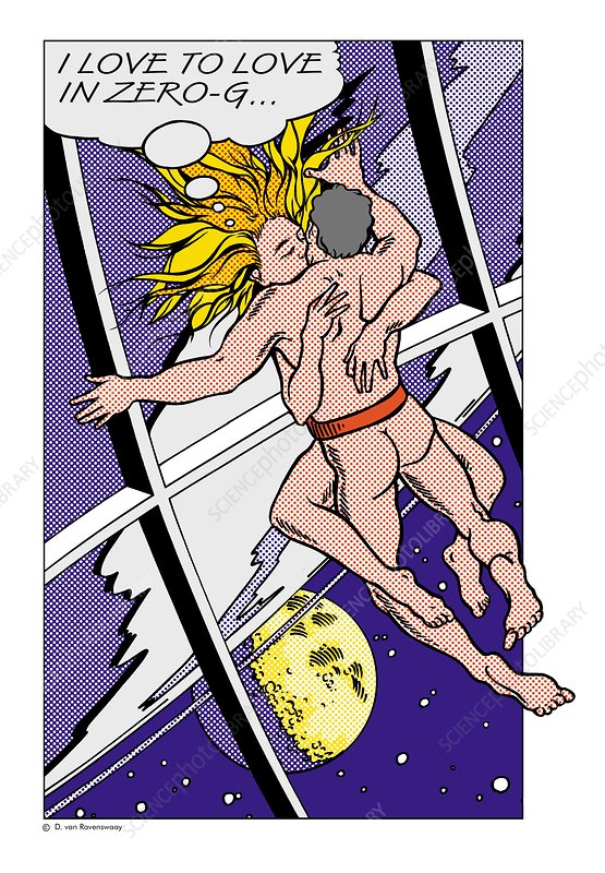 Lovers floating in zero gravity, artwork