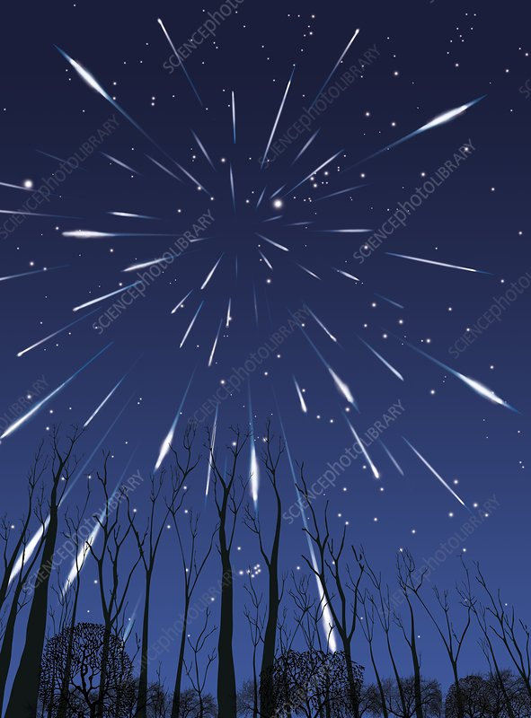 Perseids meteor shower, artwork